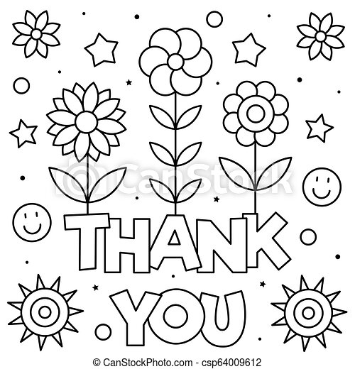 - Thank You. Coloring Page. Black And White Vector Illustration. Thank You. Coloring  Page. Black And White Vector Illustration.