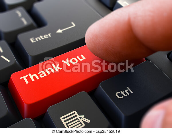 Thank You - Concept on Red Keyboard Button. - csp35452019