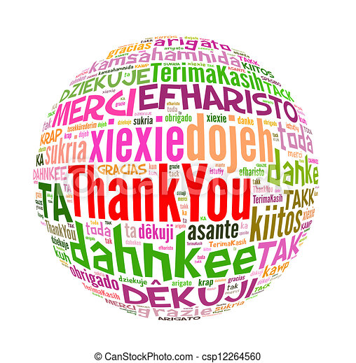 thank you concept word in many languages of the world rh canstockphoto com au Black and White Thank You in Different Languages Thank You in Different Languages List