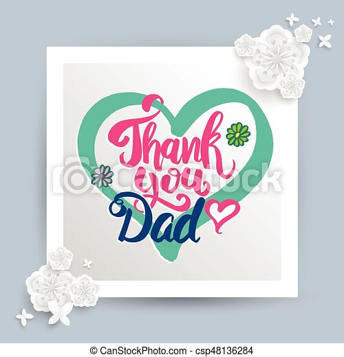 thank you dad lettering for father s day card vector illustration