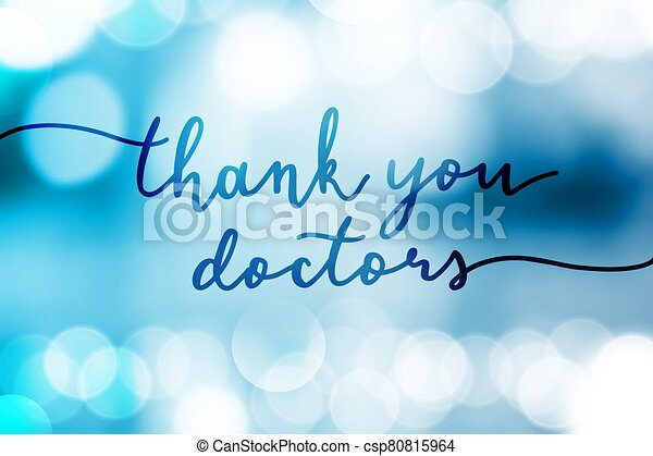 thank you doctors vector lettering on lights - csp80815964