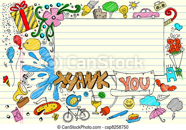 Thank you doodle illustration of thank you card in doodle thank you doodle csp8258750 voltagebd Choice Image