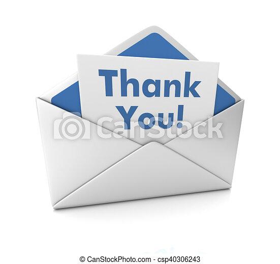 thank you envelope 3d illustration
