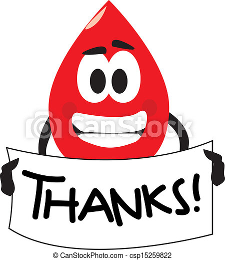 thank you for your blood donation vector cartoon clip art of a