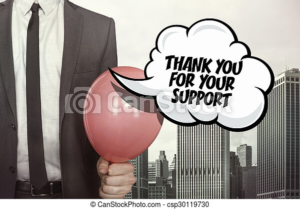 Thank you for your support text on speech bubble - csp30119730