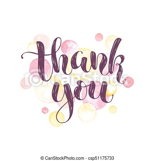 Thank you greeting card thank you lettering with watercolor spots thank you greeting card csp51175733 m4hsunfo