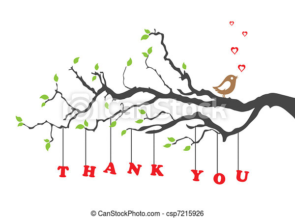 Thank you greeting card with bird - csp7215926