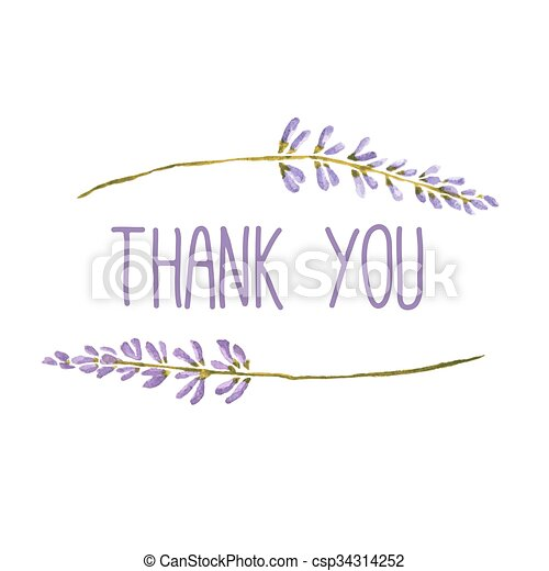 Thank you greeting card with flowers of lavender vector watercolor thank you greeting card with flowers of lavender vector watercolor m4hsunfo