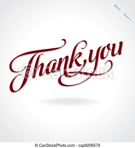 'thank you' hand lettering (vector) - csp9206579
