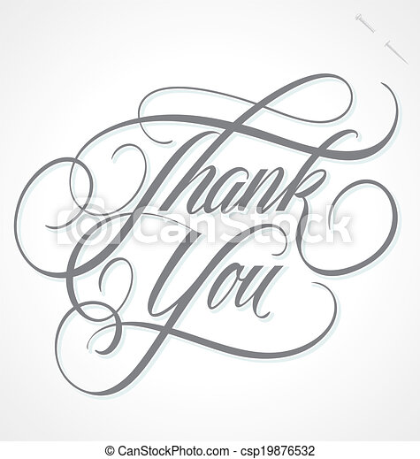 THANK YOU hand lettering vector - csp19876532