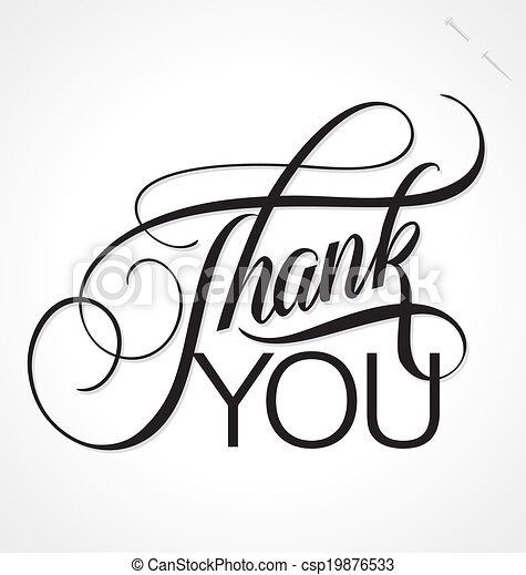 THANK YOU hand lettering vector - csp19876533
