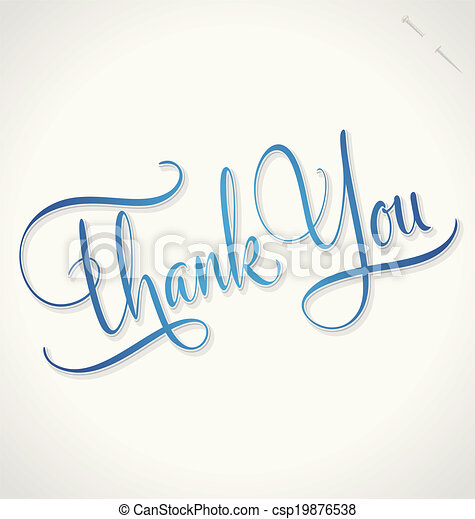 THANK YOU hand lettering vector - csp19876538