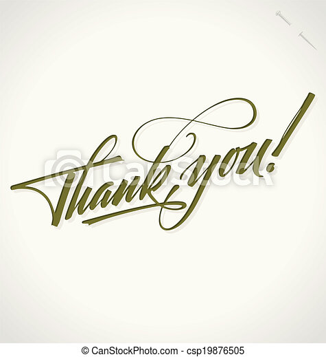 THANK YOU hand lettering vector - csp19876505