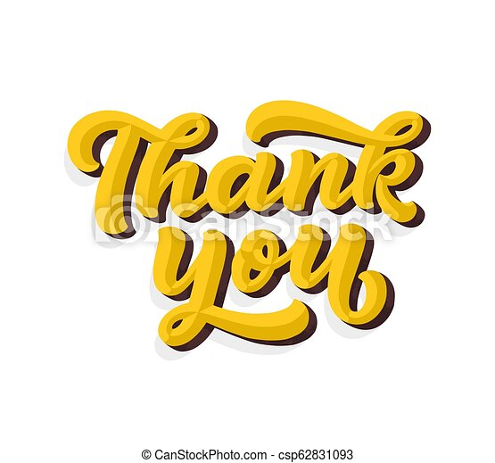 Thank you handwritten inscription. hand drawn 3d lettering. script calligraphy. greeting card. vector illustration.