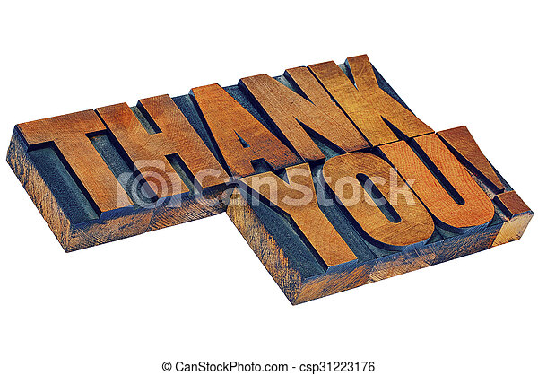 thank you in letterpess wood type - csp31223176