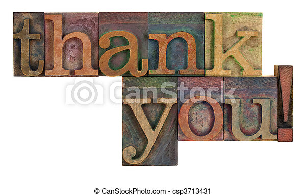 thank you in letterpress type - csp3713431