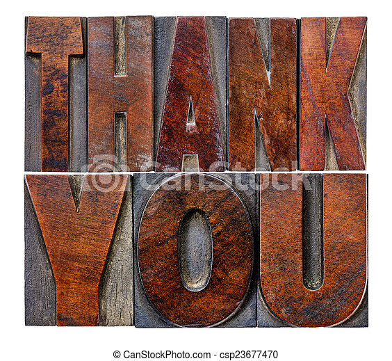 thank you in wood type - csp23677470