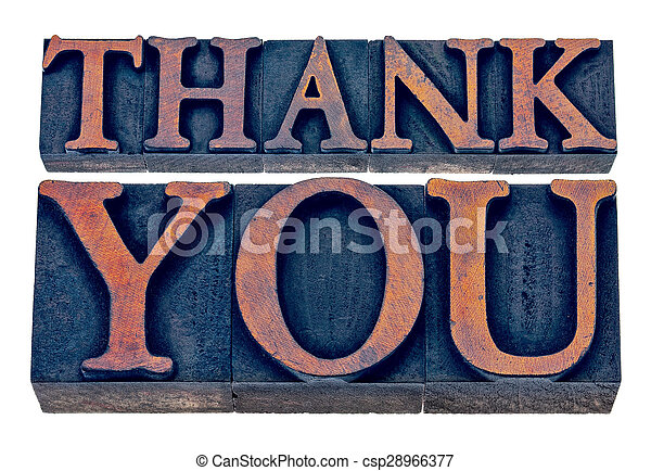 thank you in wood type - csp28966377