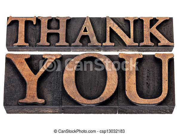 thank you in wood type - csp13032183
