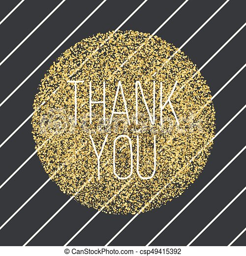 Thank You Invitation Card Design Template Diagonal Black Lines Pattern And Golden Chaotic Dots Circle Shaped Vector Invitation Design Background