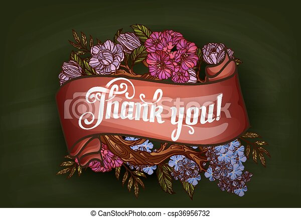 thank you lettering decorated with flowers poster template