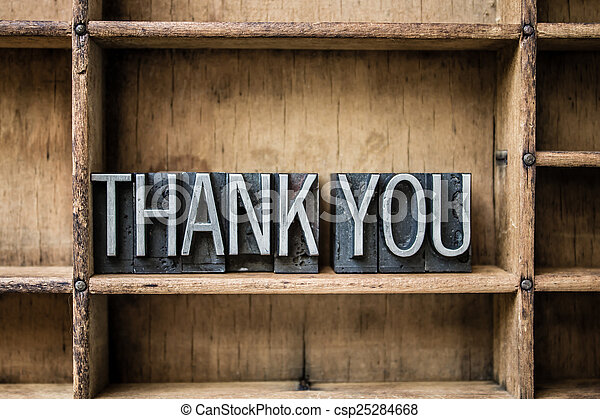 Thank You Letterpress Type in Drawer - csp25284668