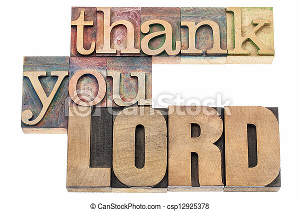 thank you Lord in wood type - csp12925378