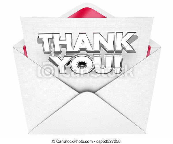 thank you note letter envelope thanks 3d illustration