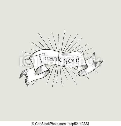 thank you sign engraving lettering flag banner over retro back