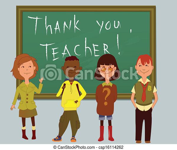 Thank you teacher teachers day card with schoolchildren clip thank you teacher csp16114262 voltagebd Choice Image