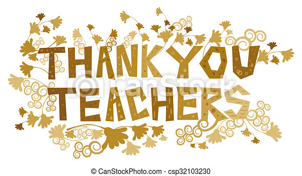 thank you teachers an abstract illustration on a thank you note