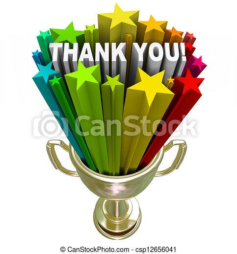 Thank You Trophy Recognition Appreciation of Job Efforts - csp12656041