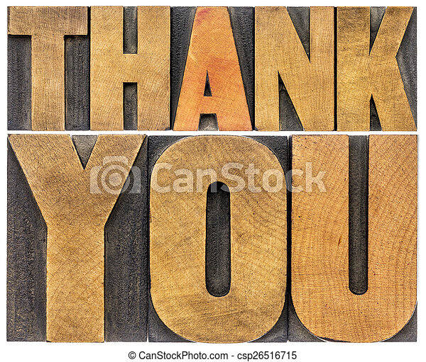 thank you wood type abstract - csp26516715