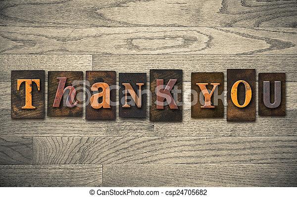 Thank You Wooden Letterpress Concept - csp24705682