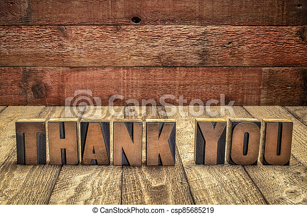 thank you word abstract in vintage wood type - csp85685219