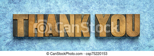 thank you word abstract in vintage wood type - csp75220153