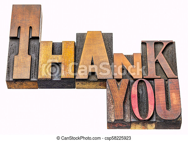 thank you word abstract in vintage wood type - csp58225923