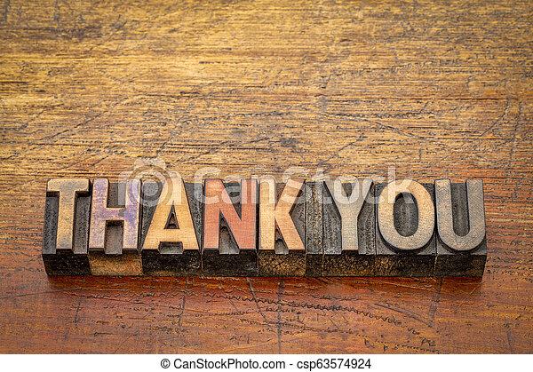 thank you word abstract in vintage wood type - csp63574924