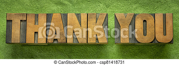 thank you word abstract in vintage wood type - csp81418731