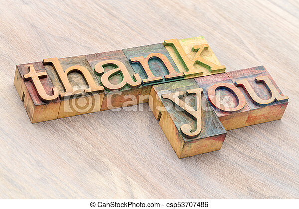 thank you word abstract in wood type - csp53707486