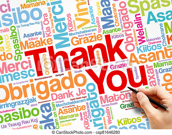 Thank You word cloud in different languages - csp81646280