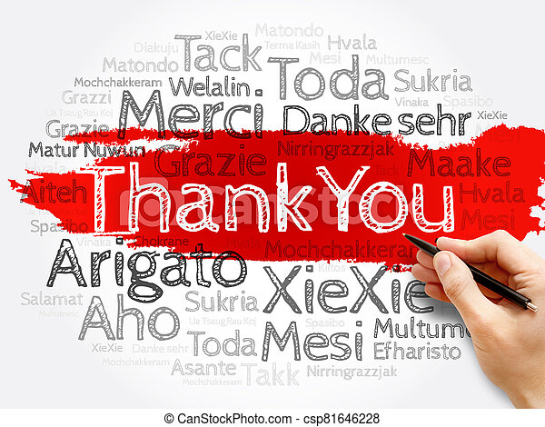 Thank You word cloud in different languages - csp81646228