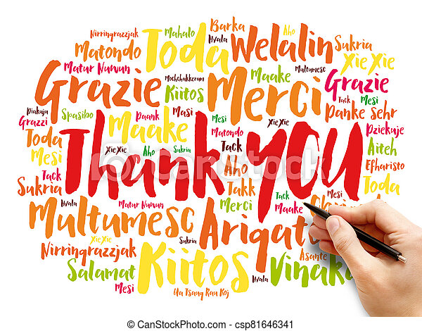 Thank You word cloud in different languages - csp81646341