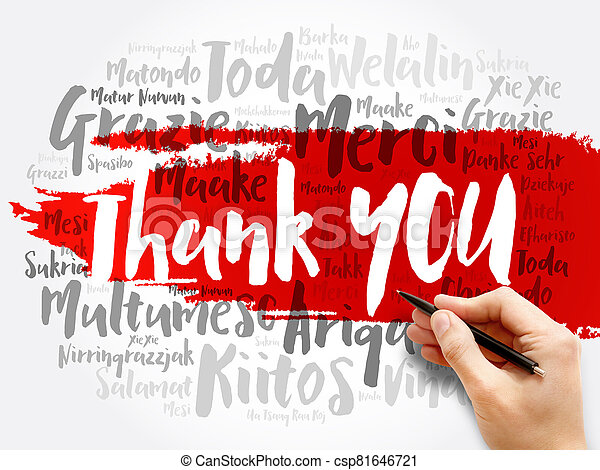 Thank You word cloud in different languages - csp81646721