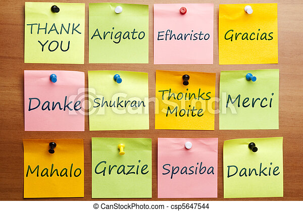 Thank you word in 12 languages - csp5647544