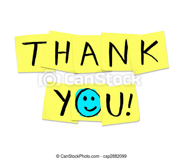 Thank You - Words on Yellow Sticky Notes - csp2882099