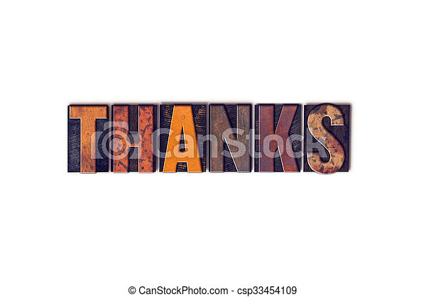 Thanks Concept Isolated Letterpress Type - csp33454109