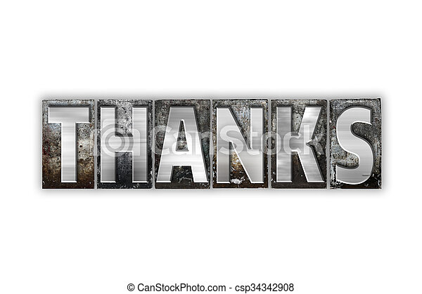 Thanks Concept Isolated Metal Letterpress Type - csp34342908