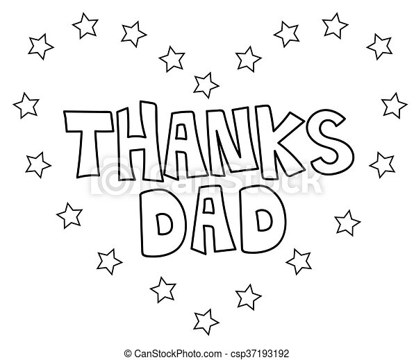 Thanks Dad Heart Coloring Page