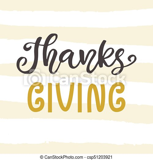 Thanks Giving. Thanksgiving Day lettering - csp51203921